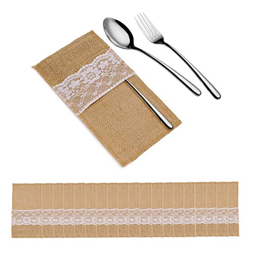 AUGMOOT Natural Burlap Lace Utensil Holders Cutlery Holders for Silverware Napkin Vintage Wedding Table Decoration (20pcs)