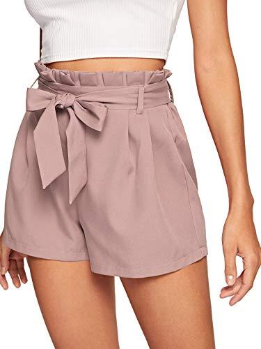 DIDK Shorts Schleife, Damen Locker Shorts Elastischer Bund Casual Sommerhose Sommer Short mit Schleife Gürtel Einfarbig Kurz Hose Pink#2 M