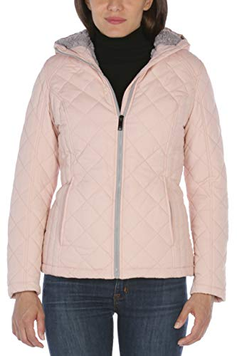 HFX Women's Quilted Cozy Sherpa Lined Jacket, Dusty Pink, Extra Large