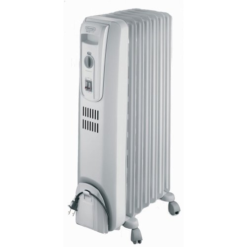 DeLonghi Oil-Filled Radiator Space Heater, Full Room Quiet 1500W, Adjustable Thermostat 3 Heat Settings, Energy Saving, Safety Features, Light Gray, TRH0715