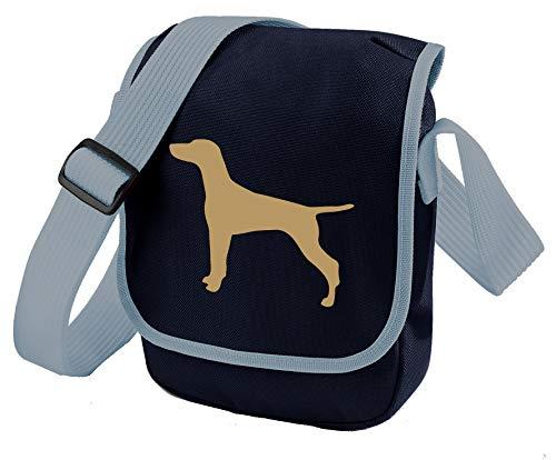 Ungarische Vizsla Hundetasche Reporter Tasche Schultertasche Vizsla Silhouette Vizsla Geschenk Farbauswahl, Blau - Fawn Dog Hundetasche, Marineblau - Größe: Small/Medium
