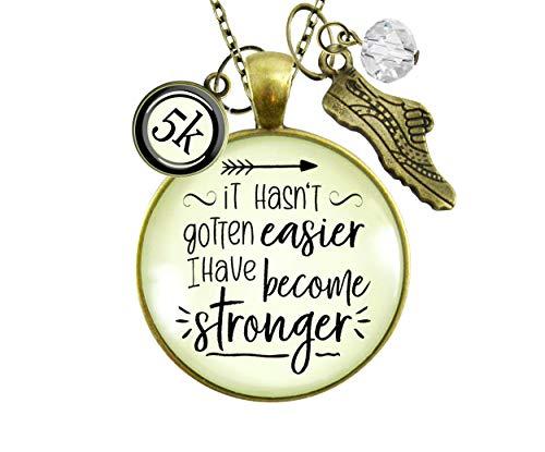 Gutsy Goodness 5K Marathon Runners Necklace It Hasn't Gotten Easier Stronger Athlete Mantra Jewelry 36'