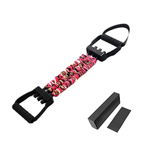 Shaoyao Adjustable Resistance Bands Chest Expander Bench Press Assistance Latex Bands Removable Pull Rope with Exercise Fitness Elastic Tube Pink 53LB
