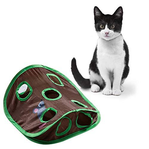 Apofly Cat Interactive Toy, Katzen Spielzeug-Matte Mit 9 Holes Tunnel Spielzeug Cat Activity Spiel-matten Faltbare Trainings Verkratzen Für Haustiere Kätzchen Spielen Traning