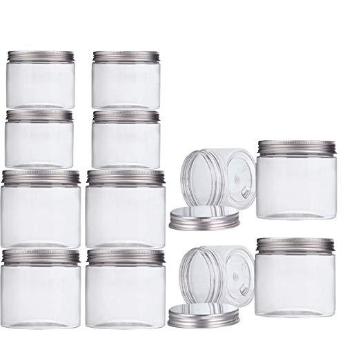 Aitsite Pack-12 Tarro Plastico con Tapa de Metal Atornillable (6 Piezas 350ml + 6 Piezas 150ml) Transparente Botes Cocina Recipientes Slime Contenedor Alimentos