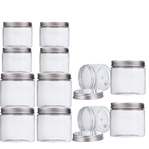 Makone 12 Packs Clear Plastic Jars with Silver Metal Lids (6pc 12oz + 6pc 5oz) BPA Free PET Food Safe Stackable Transparent Storage Container for Slime Kitchen Dry Goods and More