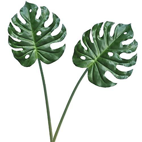 Aisamco Künstliches tropisches Palmblatt-Split-Philodendron, 2 Stücke Gefälschte Palmblätter Künstliche Pflanze Künstliches Fensterblatt Tropisches Weinrot Leathery Leaf - 30