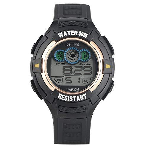 Premium Sport Taucher Digitaluhr für Männer, schwarzes goldenes Gehäuse, Digitale Uhren für Jungen, Exquisite Outdoor Multifunktions-Armbanduhr wasserdicht elektronische Armbanduhr für Studenten