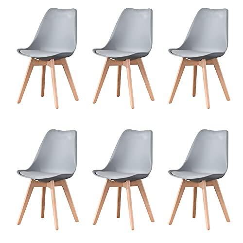 Sedie da pranzo moderne di metà secolo Set di 6 sedie da cucina imbottite grigie con gamba della...