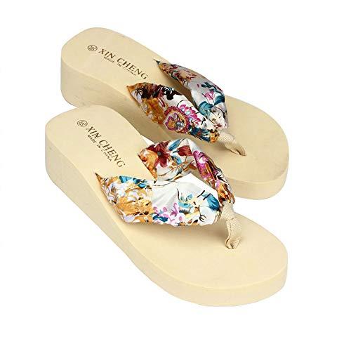 YU'TING - Scarpe Flip-Flops, Sandali da Donna con Tacco Alto Stile Giapponese Nastro Floreale Infradito Boemia Spiaggia Sandali Wedge Piattaforma Infradito Pantofole