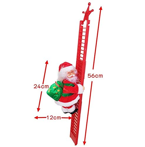 Electric Climbing Santa, Christmas Creative Decoration with Music and LED Light, Climbing Ladder Santa Plush Doll Xmas Toy Hanging Ornament Tree Holiday Party Home Door Wall Decoration