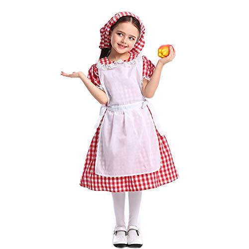 TTXLY Fiesta de Halloween Juego de Roles Niñas Caperucita Roja Disfraz Disfraz Niño Disfraz de Halloween Disfraz Vestido de Fiesta y Capa,B,S