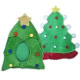 Liwein Gorro de árbol de Navidad Verde Sombrero de Árbol de Navidad Novedad Tradicional Sombreros de Navidad con Pompones Gorras de Partido de Traje de Navidad para Adultos Niños 2 Piezas