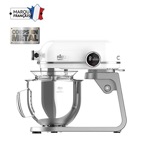 Faure FKM-802MP1 Robot Pâtissier Magic Baker Premiuim - 800W transmission directe -Mouvement Planétaire - Bol Inox 5,2L - Coloris Blanc