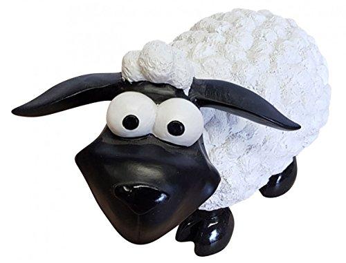 Fachhandel Plus Deko-Schaf bunt stehend wählbar Dekofigur Garten Tierfigur lustige Schafe klein, Farbe:weiß