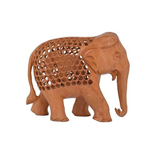 Purpledip 10715 Holzfigur Elefant, Jali-Schnitzerei, Dekoration, indisches Geschenk/Souvenir