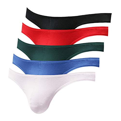 Pdbokew Men's Thongs Underwear G-String Quick-Drying Comfortable T-Back 5-Pack XL