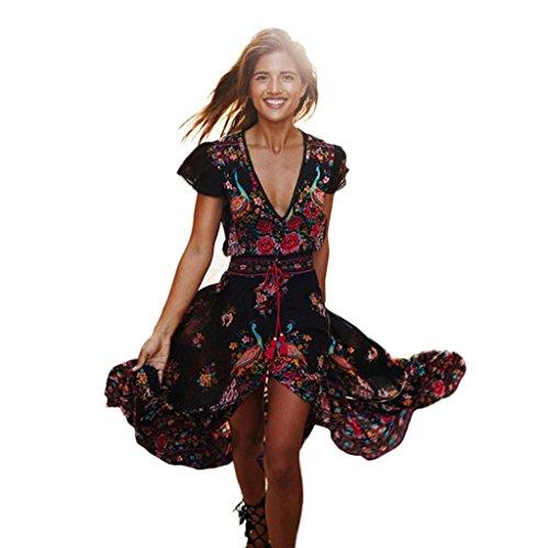 Binggong Damen Kleid, Frauen Print Floral Retro Palace V-Ausschnitt Urlaub Abendkleid Vintage Lang Spitzenkleider Split Asymmetrisch Festkleider (Sexy Schwarz, M)
