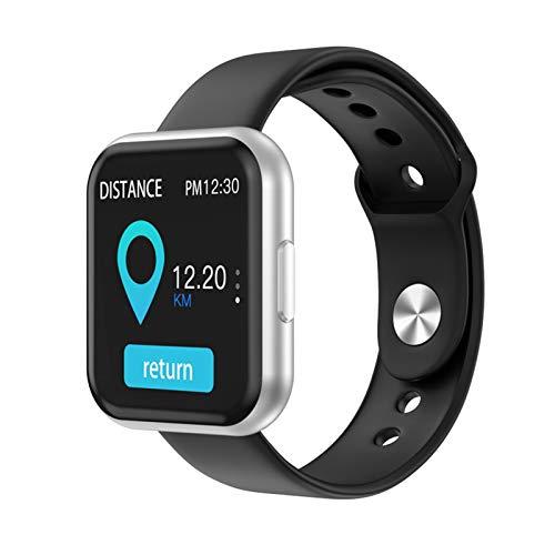 LYB T88 - Reloj inteligente para hombre y mujer, detección de frecuencia cardíaca, pantalla táctil completa, Bluetooth, reloj inteligente para iPhone Huawei (color: plateado y negro sílice)