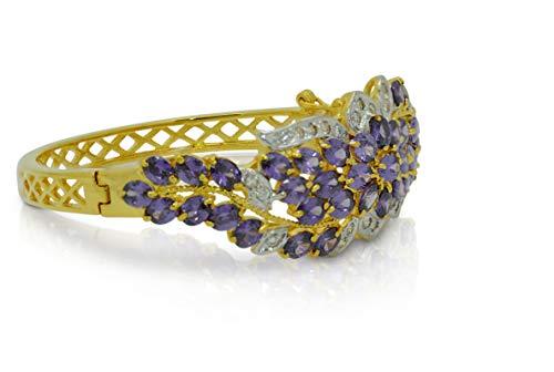 Montip Lynn Pulsera de oro amarillo de 22 K de 24 K para mujer, chapada en oro amarillo, para novia, con zafiro azul, 5 mm, 2 pulgadas morado