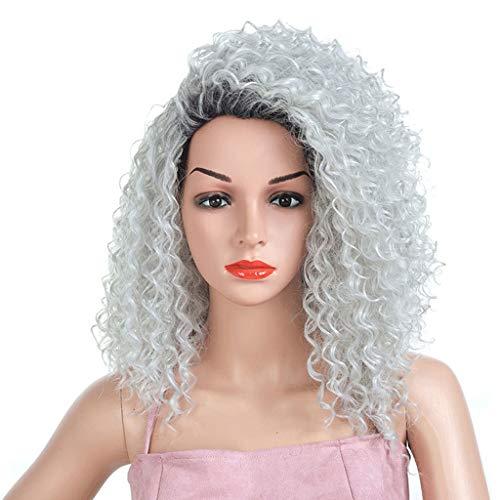 Silberne Graue Kurze Damenperücke, Kleines Volumen Damen Voll Top Kleine Welle Synthetische Hochtemperatur-Haarparty Cosplay Perücken