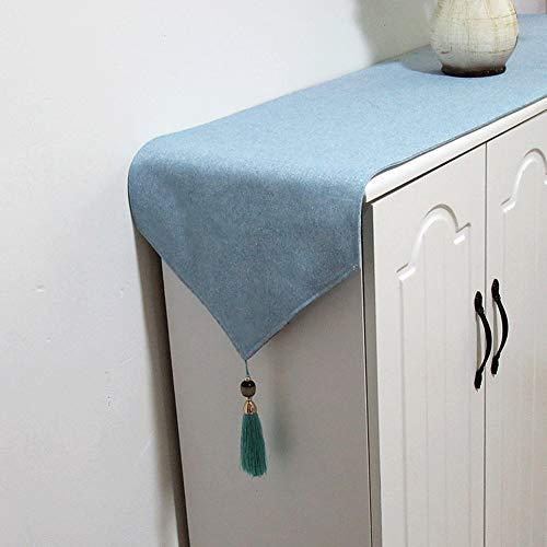 Tafelloper effen gekleurd tafelloper, katoen en linnen doek, milieuvriendelijk bedrukken en kleuren, handgemaakte jade kwast tafelkleed, geschikt voor Pasen, verjaardag, cadeau ++ 34X160cm blauw (1)
