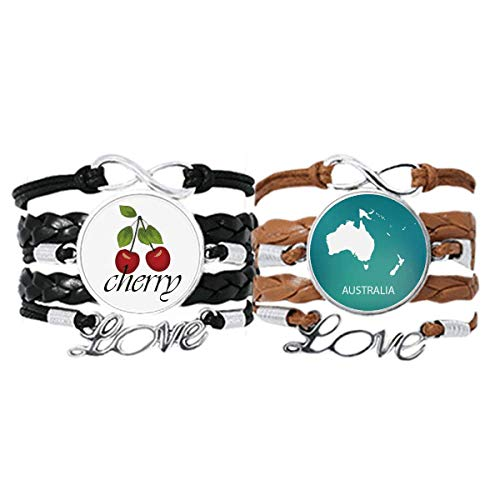 Bestchong Australien Ozeanien Kontinent Umriss Karte Armband Handschlaufe Lederband Cherry Love Armband Doppelset