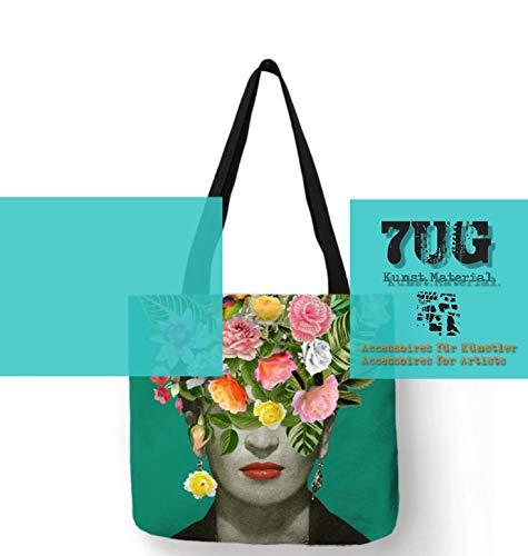 7UG Frida Tasche Green aus Leinengewebe (40 x 40 cm) - für Ihre Mal-Utensilien, Pinsel und Farben