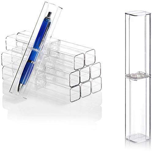 com-four® 10x Stiftgeschenkbox, dekorative Federmäppchen für Kugelschreiber und Füller in Schule und Büro, perfektes Geschenketui für Stifte (10 Stück - transparent)