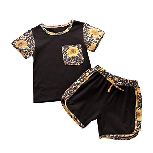 Allegorly Kleinkind Kinder Baby Mädchen Leopard Floral Tops T-Shirt Shorts Set Sport Wear Outfits Jungen Mädchen Kurzarm Leopard Floral Sunflower Top Shorts Sportswear