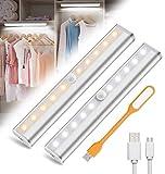 10LED Luz Armario con Sensor de Movimiento USB Recargable Luz Nocturna LED Iluminación Nocturna Cabinet Light Closet Light Para Armario Pasillo Escalera Cocina Garaje(2 PACK)