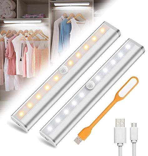 LED Luz Armario con Sensor de Movimiento USB Recargable Luz Nocturna 10LED Iluminación Nocturna Cabinet Light Closet Light Para Armario Pasillo Escalera Cocina Garaje(2 PACK)