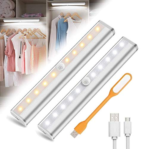 10LED Luz Armario con Sensor de Movimiento USB Recargable Luz Nocturna LED Iluminación Nocturna Cabinet Light Closet Light Para Armario Pasillo Escalera Cocina Garaje(2 PACK)