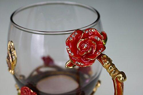 JARONG Vin Rouge Cristal Verre Émaillé, Tasse Tasse De Jus De Fruit, Holiday Gift,13X8Cm