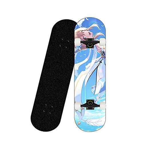 Cnlololog Planche à roulettes débutant Genshin Impact: Anime Lumineux Ciel en Volant Planche à Roulette, Skateboard Professionnel à Quatre Roues Planche à roulettes en érable, Brosse la Rue Planche à