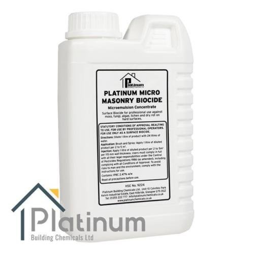 Platinum Masonry Biocide/Concentrate Treatment for Dry Rot On Masonry 1L (Makes 25L)