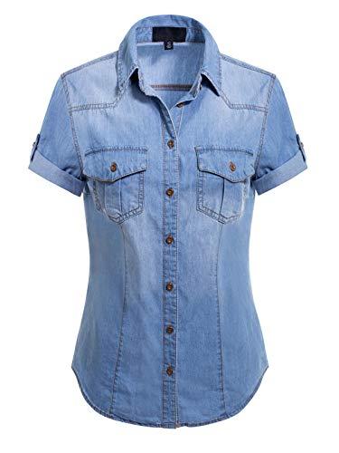 Design by Olivia Women's Button-Down Cap Sleeve Denim Chambray Shirt Washed Medium Denim L