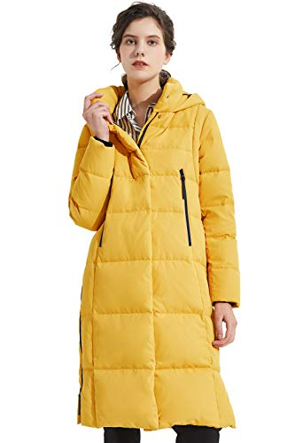 Orolay Women's Thickened Down Jacket Long Winter Coat Hooded Puffer Jacket Spectra Yellow 2XL