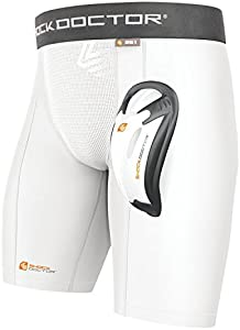 Shock Doctor Men's Double Compression Short with BioFlex Cup (Large, White)
