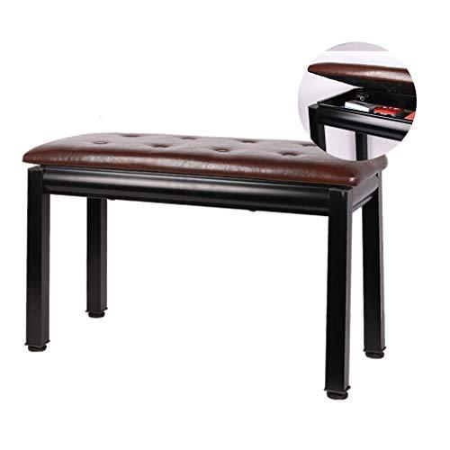 Taburete de Piano con Compartimiento de Almacenamiento Banco de Piano Madera Cojín de Cuero PU, Silla Asiento Banqueta for Pianista (Color : Brown)