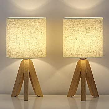 HAITRAL Small Table Lamps - Wooden Tripod Nightstand Lamps Set of 2 for Bedroom Living Room Office Home with Fabric Linen Shade