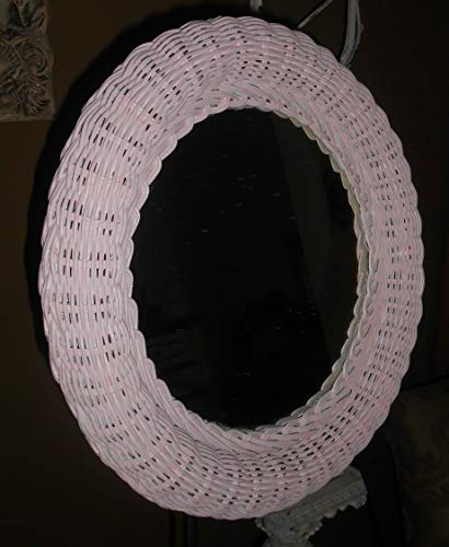 Upcycled, Vintage, Round Wall Wicker Mirror, Shabby Chic Pink, Hand Painted, Nursery Rooms, Girl's Room Decor, Kids Room