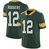 Football américain Jersey Packers 12# Rodgers Rugby Jersey T-Shirt pour Hommes Outdoor Leisure Short Sleeve Training Uniform Ventilated Respirant Quick-Drying Gift-Green-M