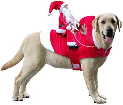 Idepet Weihnachtsmann-Kostüm für Hunde, mit Kapuze, für Chihuahua, Yorkshire Pudel, Größe XXL