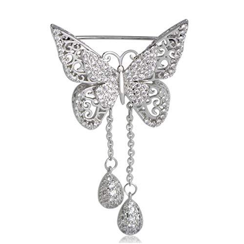 QPODGQ Broche Exquisito Broche De Mariposa con Circonita C¨²bica para Mujer, Broche Elegante con Borla para Boda