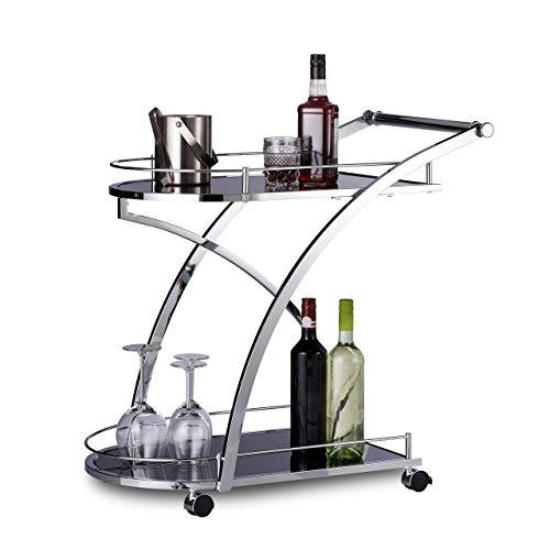 Relaxdays 10020780 Carrello Portavivande da Cucina Baron, Rotondo, Nero, Metallo, Vetro, HxLxP 73 x 46 x 74 cm