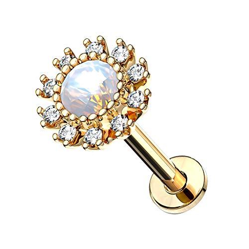 Piercingfaktor Piercing Stab mit Opal Blume Lippe Ohr Labret Tragus Helix Knorpel Stecker Lippenpiercing Ohrpiercing Gold 6mm