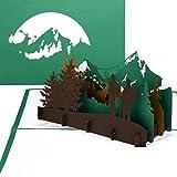 Grußkarte 'Wandern' - 3D Pop Up Karte Wandern und Bergsteigen, Reisegutschein, 3D Geschenkkarte, Geburtstagskarte