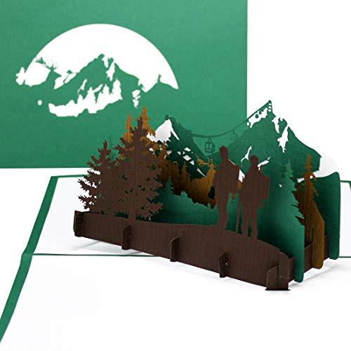 """Grußkarte\""""Wandern\"""" - 3D Pop Up Karte Wandern und Bergsteigen, Reisegutschein, 3D Geschenkkarte, Geburtstagskarte"""