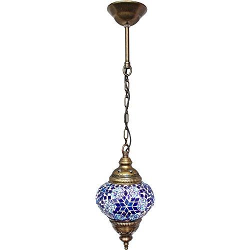 Deckenleuchte Anhänger Beschläge, Mosaik, Türkisch Lampen, hängende Windlichter, Laternen, marokkanischer Farbe Glas, Größe 2, blau, Arabian Nights
